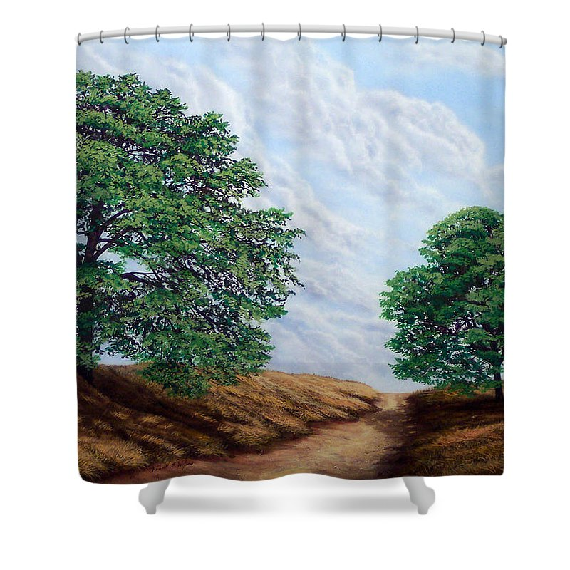 Landscape Shower Curtain featuring the painting Windblown Clouds by Frank Wilson
