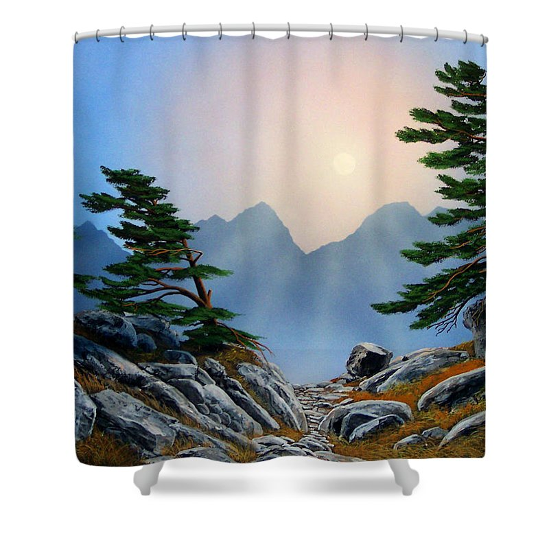 Windblown Pines Shower Curtain featuring the painting Windblown Pines by Frank Wilson