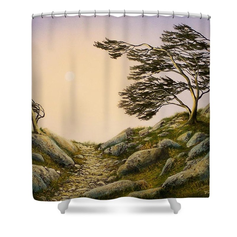 Windblown Warriors Shower Curtain featuring the painting Windblown Warriors by Frank Wilson
