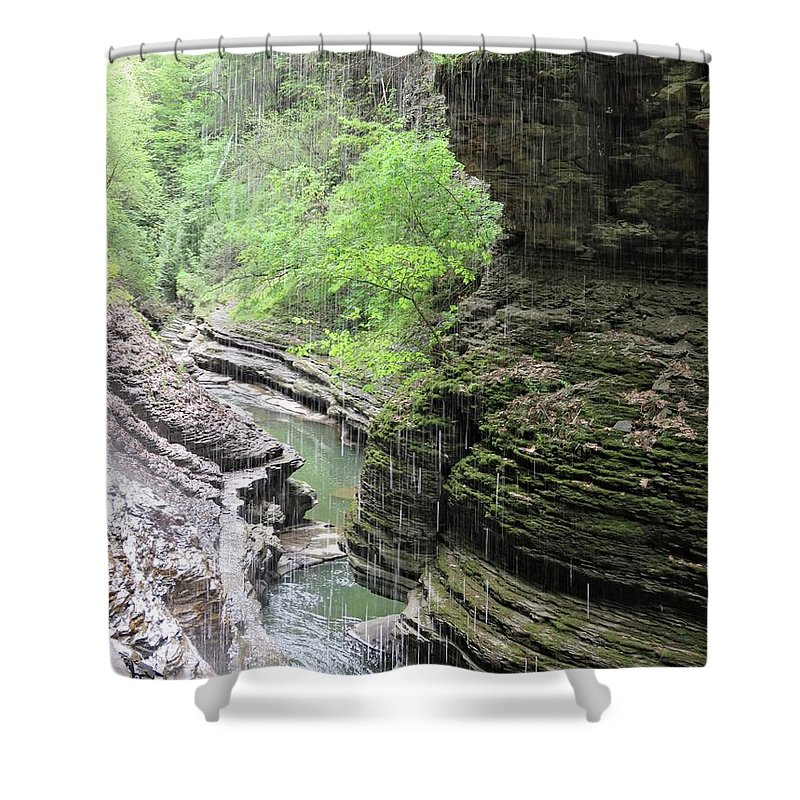 Watkins Glen Shower Curtain featuring the photograph Water Falling Throughout The Gorge by Carol McGrath