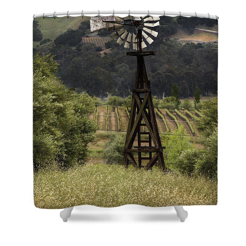 Landscape Shower Curtain featuring the photograph Windmill And Vineyards by Karen W Meyer