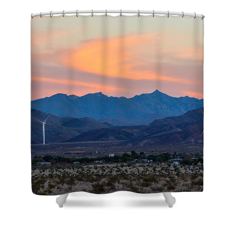 Windmill Shower Curtain featuring the photograph Windmill Desert Sunset by Royal Tyler