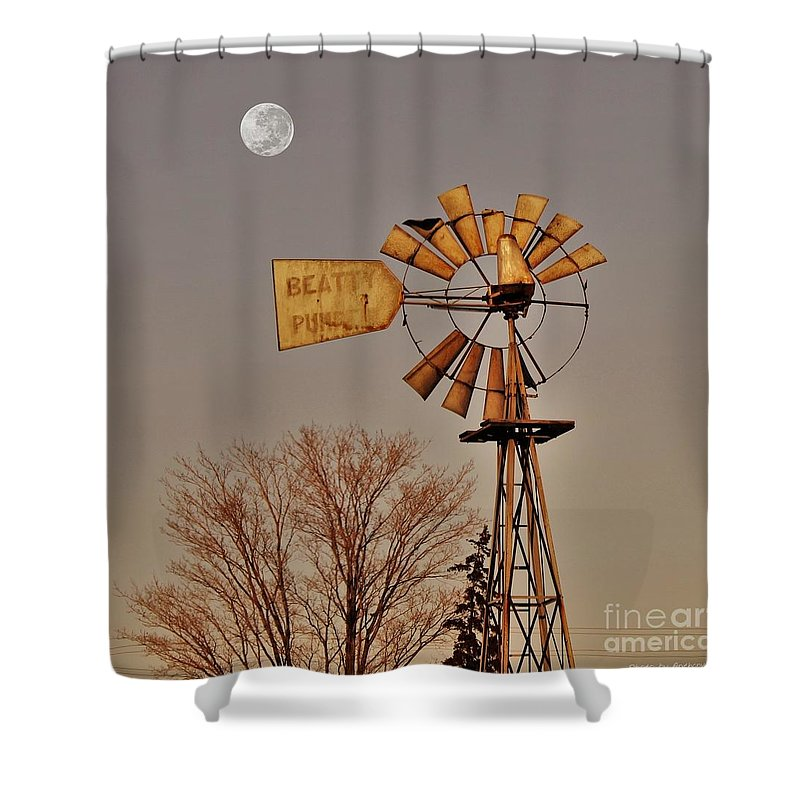Farm Shower Curtain featuring the photograph Windmill Fullmoon by Anthony Djordjevic