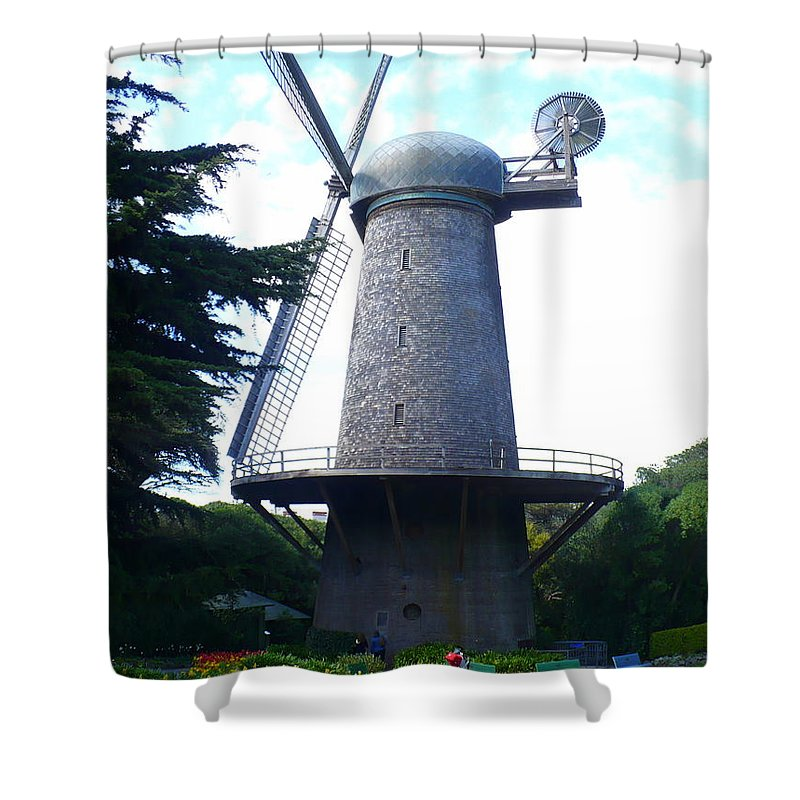 Windmill Shower Curtain featuring the photograph Windmill In Golden Gate Park by Carol Groenen