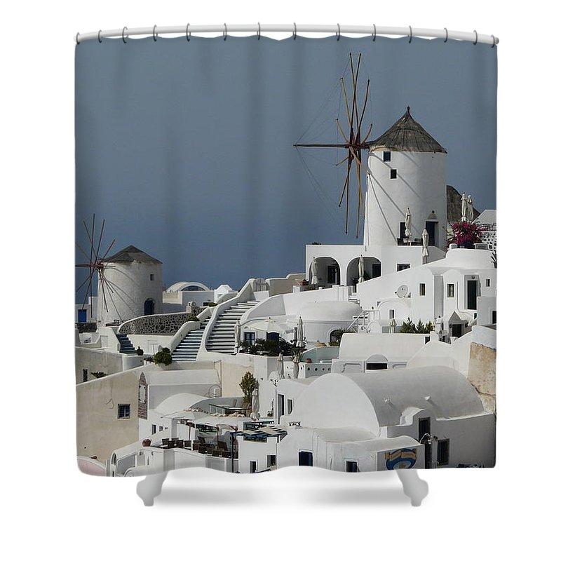 Santorin Shower Curtain featuring the photograph Windmills Of Santorini by Valerie Ornstein