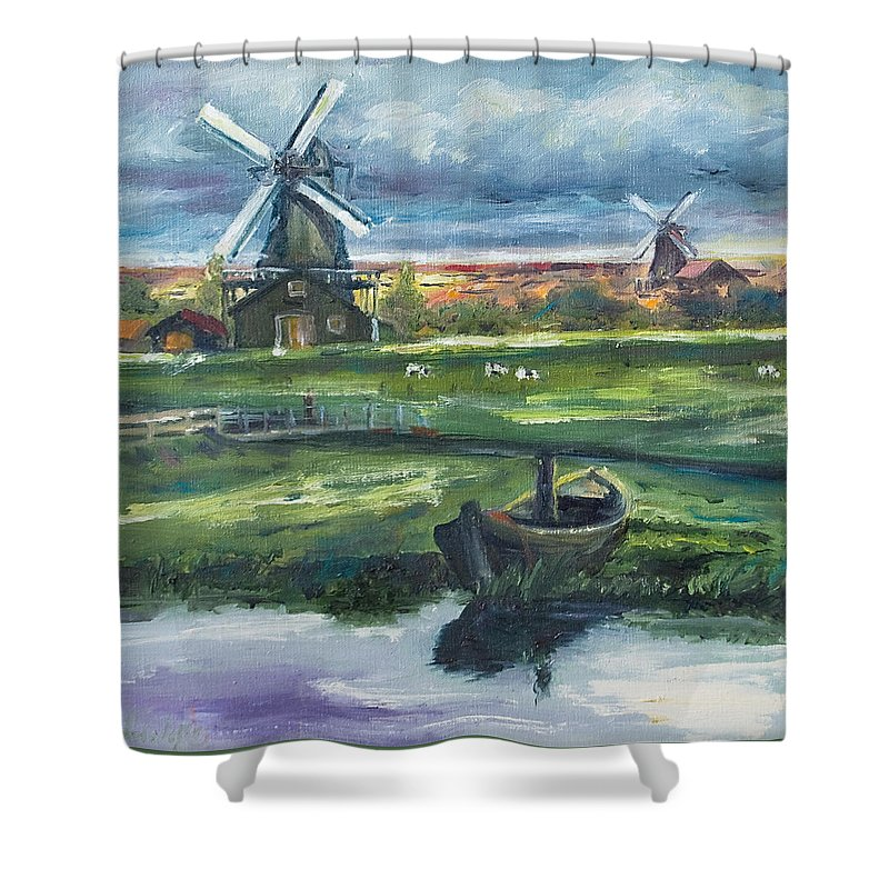 Water Shower Curtain featuring the painting Windmills by Rick Nederlof