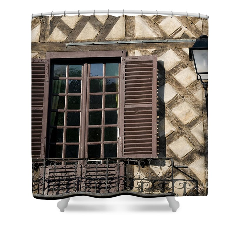 Tours France Window Windows Lamp Lamps Light Fixture Fixtures Shutter Shutters Building Buildings Structure Structures Architecture City Cities Cityscape Cityscapes Shower Curtain featuring the photograph Window And Light by Bob Phillips