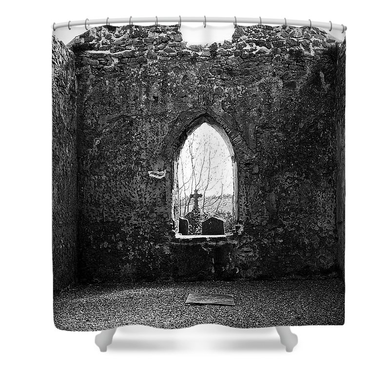 Ireland Shower Curtain featuring the photograph Window At Fuerty Church Roscommon Ireland by Teresa Mucha
