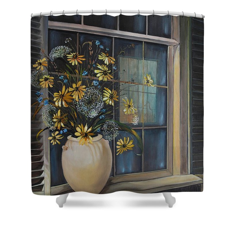 Wild Flowers Shower Curtain featuring the painting Window Dressing - Lmj by Ruth Kamenev