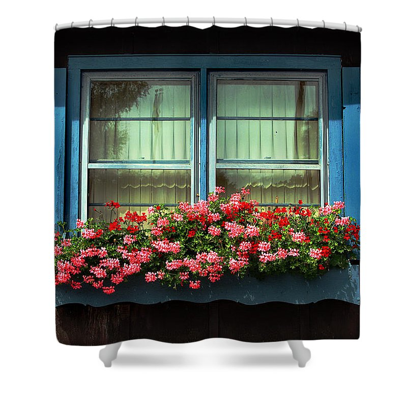 Flowers Shower Curtain featuring the photograph Window Flower Box by Joanne Coyle