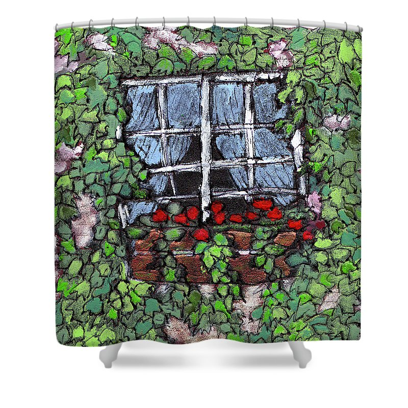 Flowers Shower Curtain featuring the painting Window Flower Box by Wayne Potrafka