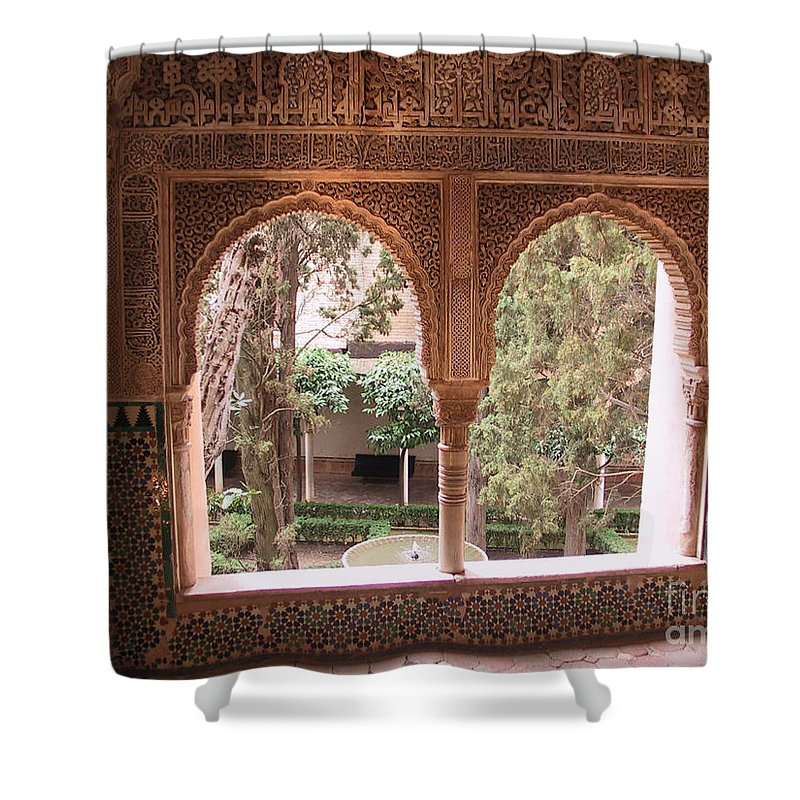 Window Shower Curtain featuring the photograph Window In La Alhambra by Thomas Marchessault