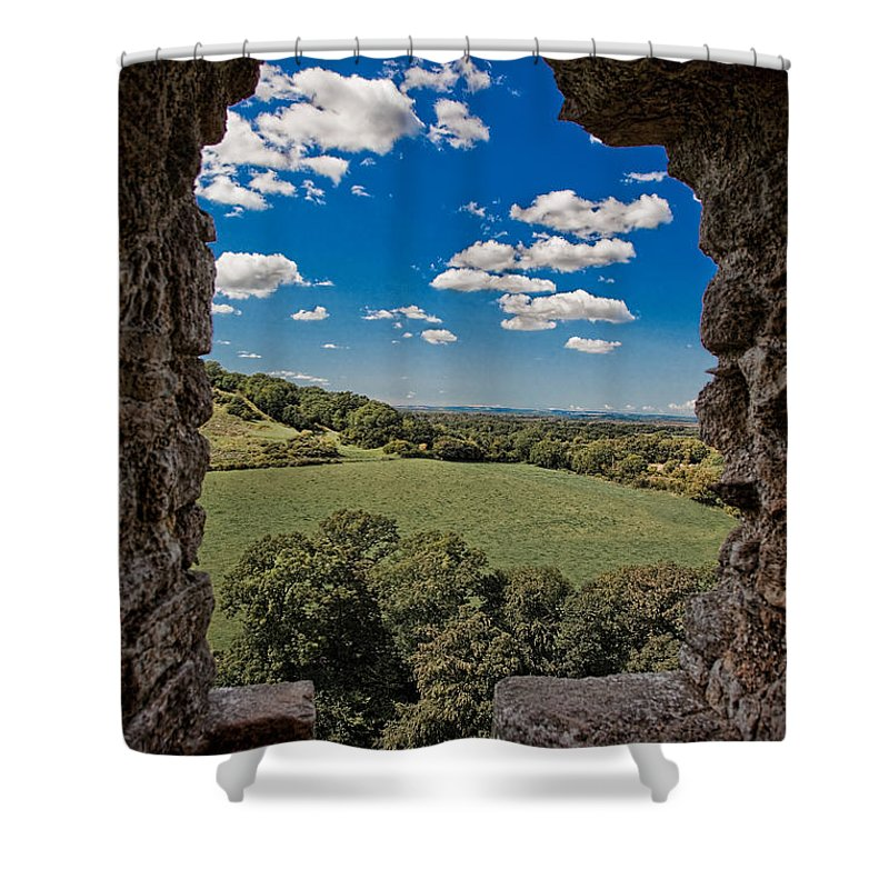 Castle Shower Curtain featuring the photograph Window On The Past by Chris Lord