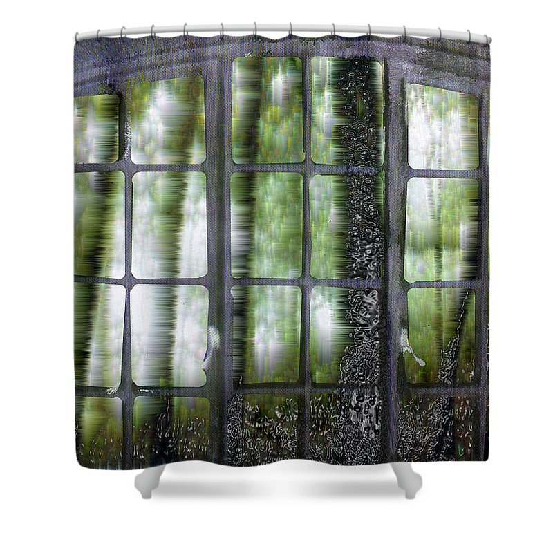 Window On The Woods Shower Curtain featuring the digital art Window On The Woods by Seth Weaver