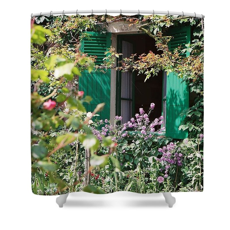 Charming Shower Curtain featuring the photograph Window To Monet by Nadine Rippelmeyer