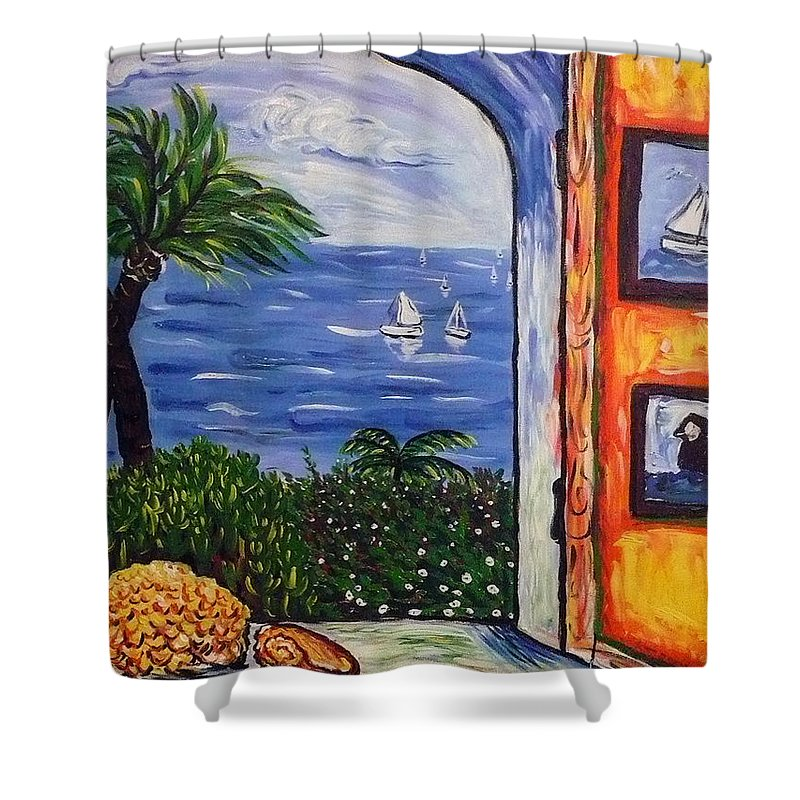 Landscape Shower Curtain featuring the painting Window With Coral by Ericka Herazo