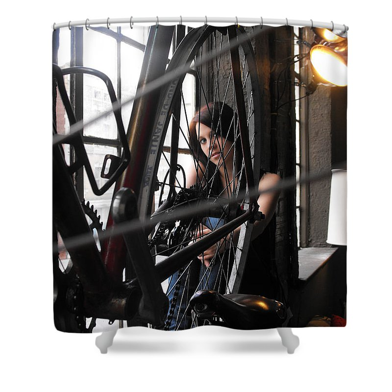 Bicycles Shower Curtain featuring the photograph Windows And Wheels by Kristie Bonnewell