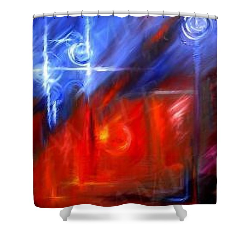 Abstracts Shower Curtain featuring the painting Windows by James Christopher Hill