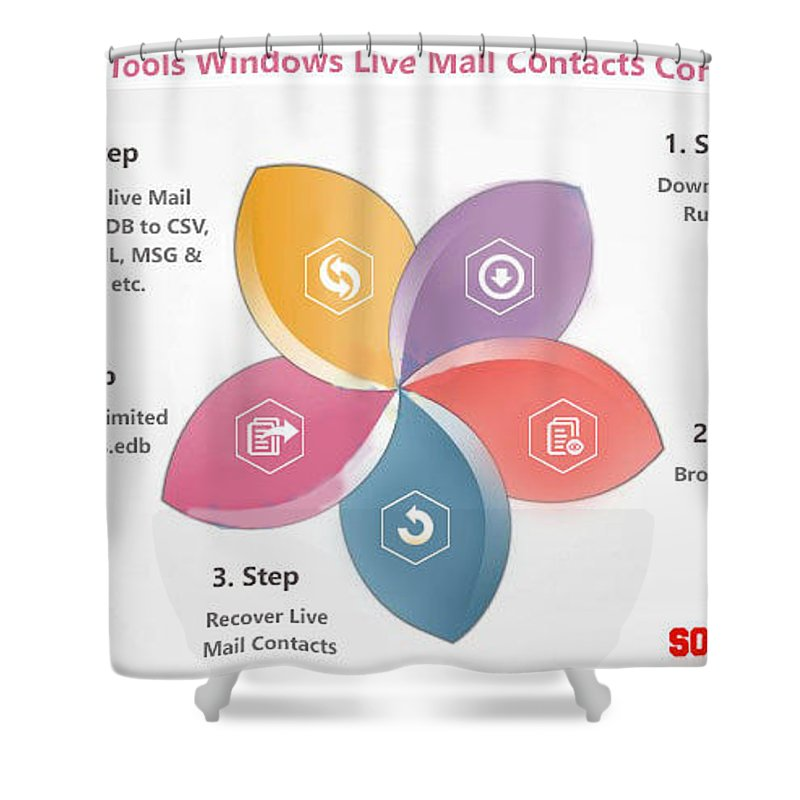 Windows Live Mail Contacts Converter Shower Curtain featuring the digital art Windows Live Mail Contacts Converter by Live mail contact recovery