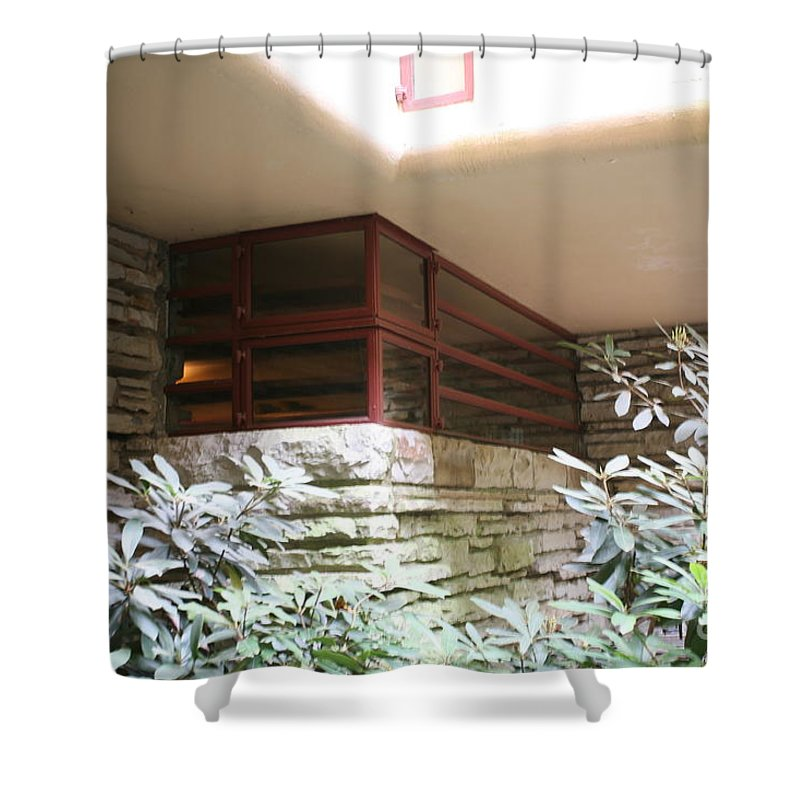 Falling Water Shower Curtain featuring the photograph Windows Stones Fallingwater by Chuck Kuhn