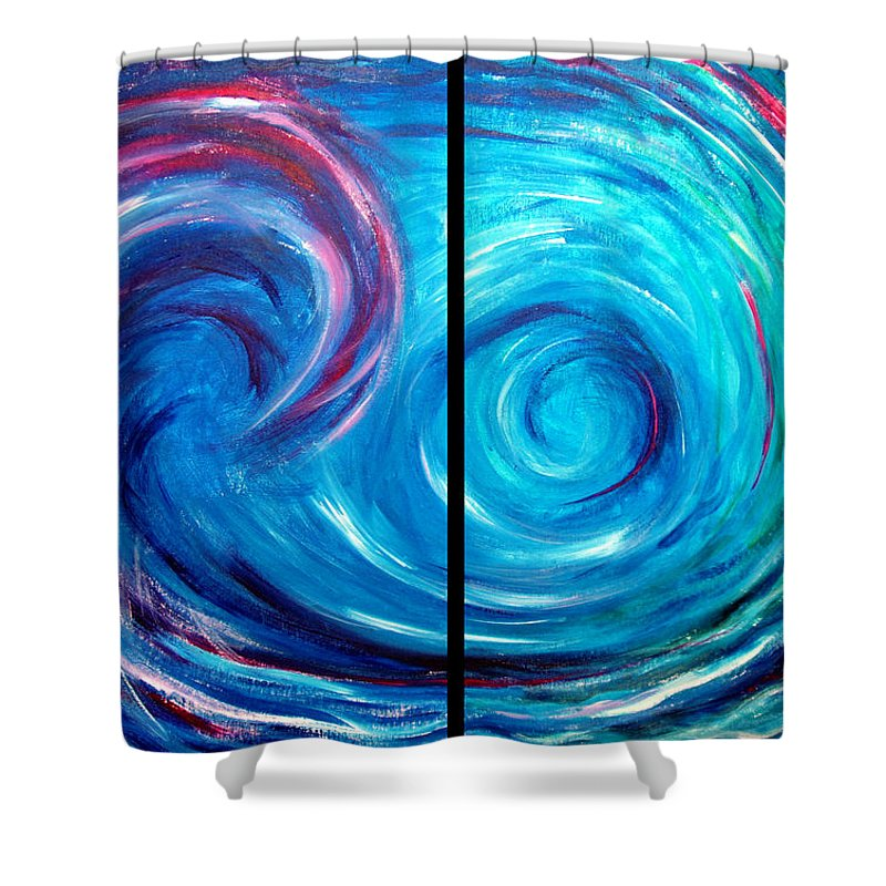 Blue Shower Curtain featuring the painting Windswept Blue Wave And Whirlpool 2 by Nancy Mueller