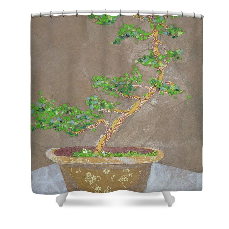 Banzai Tree Shower Curtain featuring the painting Windswept Juniper by Leah Tomaino