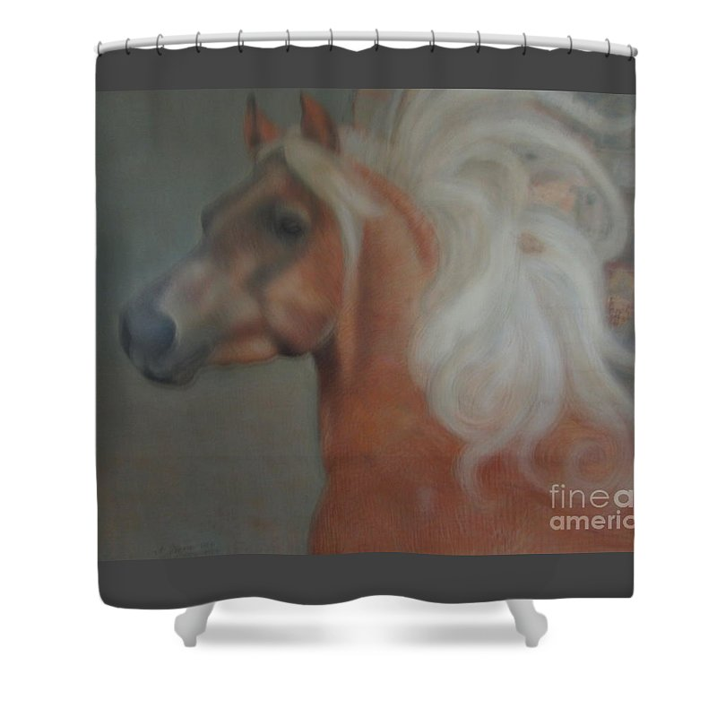 Horse Shower Curtain featuring the painting Windward by Kamara Hosic