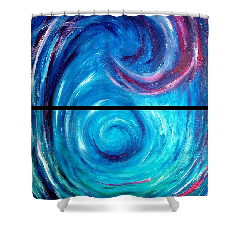 Blue Shower Curtain featuring the painting Windwept Blue Wave And Whirlpool Diptych 1 by Nancy Mueller