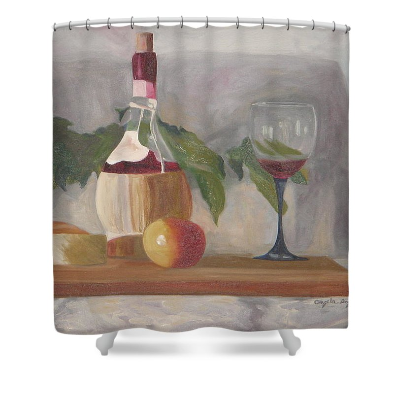 Italian Shower Curtain featuring the painting Italian Wine And Cheese by Angela Inguaggiato