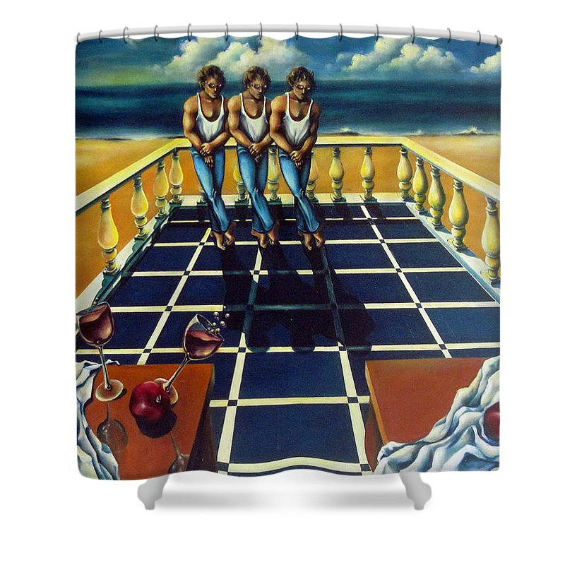 Surreal Shower Curtain featuring the painting Wine And Pomegranites by Valerie Vescovi