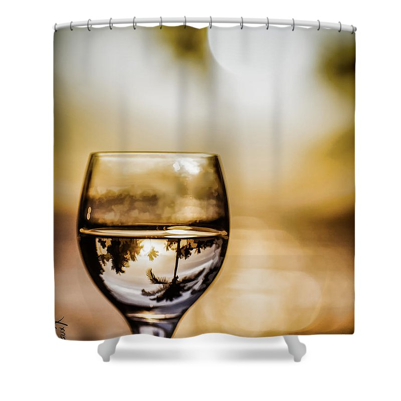 Wine Shower Curtain featuring the photograph Wine And Sunset by Margaux Dreamaginations
