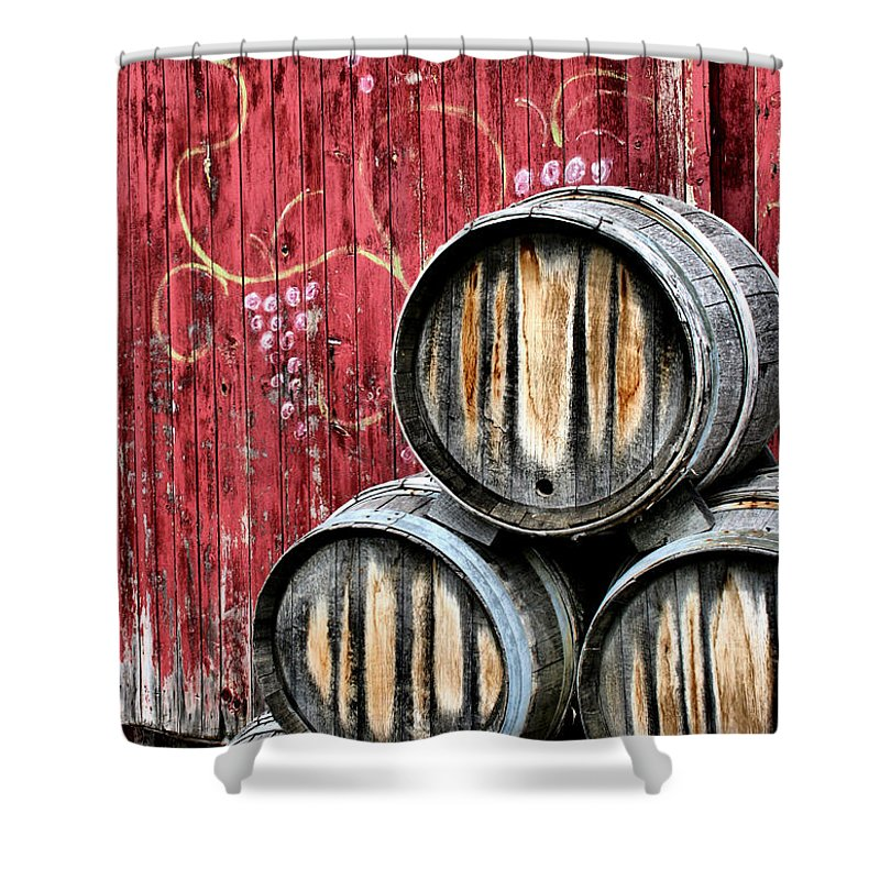 Wine Shower Curtain featuring the photograph Wine Barrels by Doug Hockman Photography