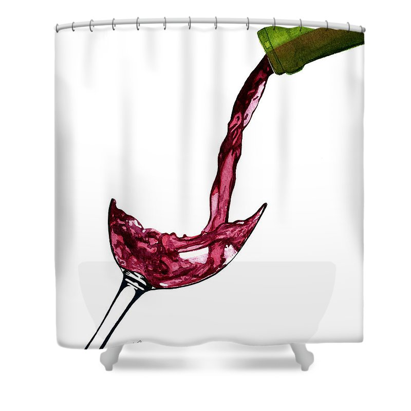 Wine Shower Curtain Featuring The Painting Bottle Pouring By Julie Senf