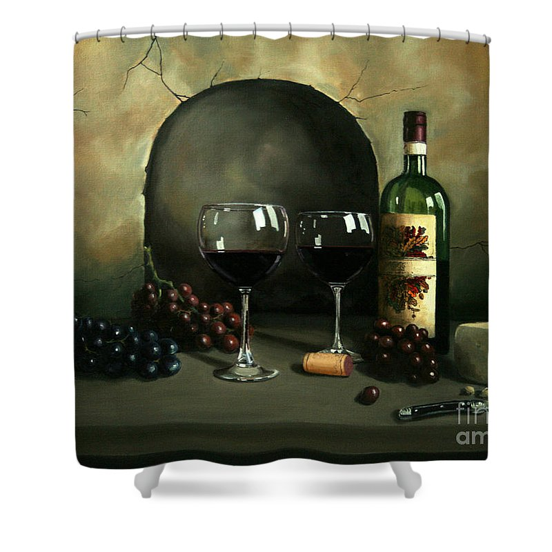 Wine Shower Curtain featuring the painting Wine For Two by Paul Walsh