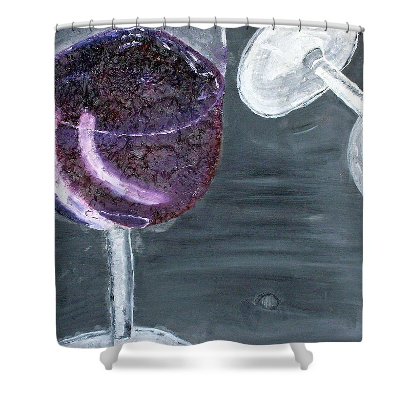 Still Life Paintings Shower Curtain featuring the painting Wine From The Vine To The Glass by Leslye Miller