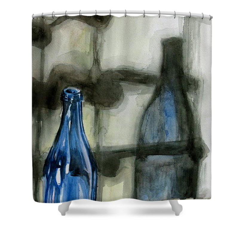 Still Life Shower Curtain featuring the painting Wine Rack Shadows by Karen Boudreaux