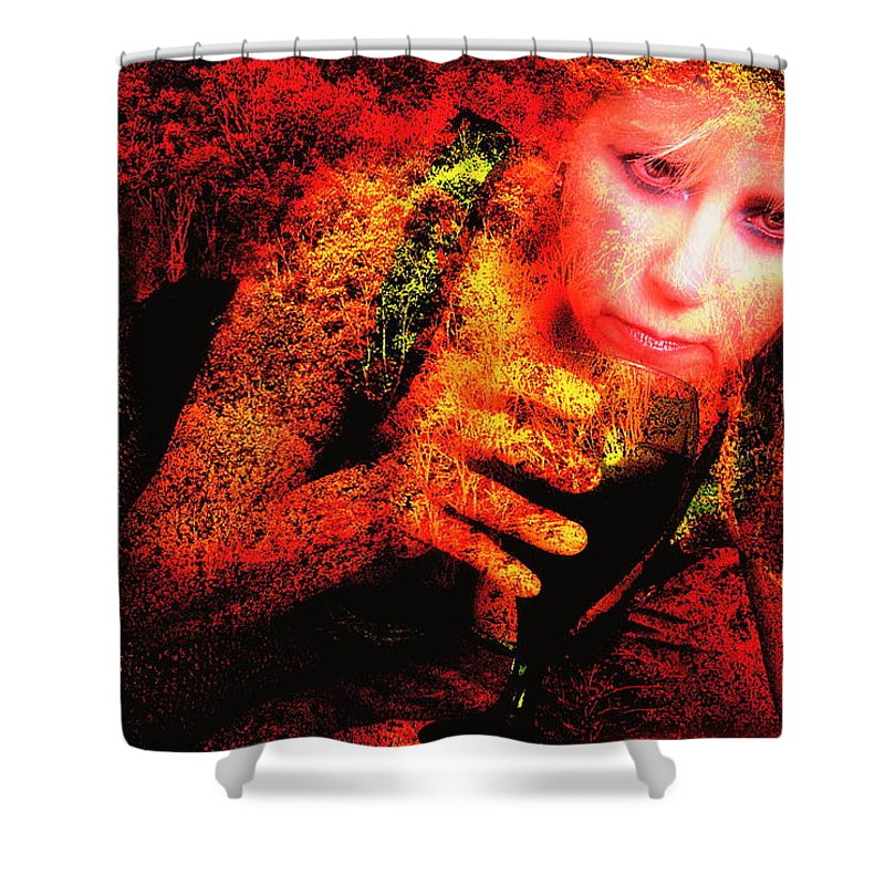 Clay Shower Curtain featuring the photograph Wine Woman And Fall Colors by Clayton Bruster