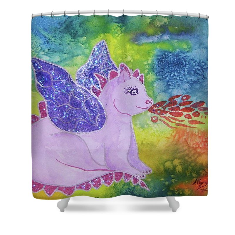 Dragon Shower Curtain featuring the painting Winged Dragon by Ellen Levinson
