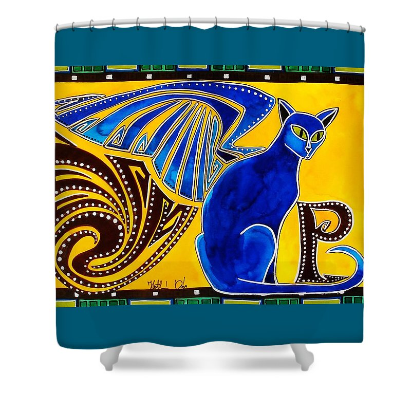 Cat Art Shower Curtain featuring the painting Winged Feline - Cat Art with letter P by Dora Hathazi Mendes by Dora Hathazi Mendes