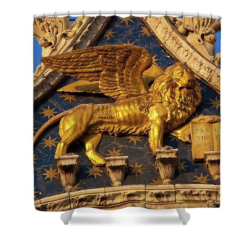 Winged Lion Shower Curtain featuring the photograph Winged Lion by Harry Spitz