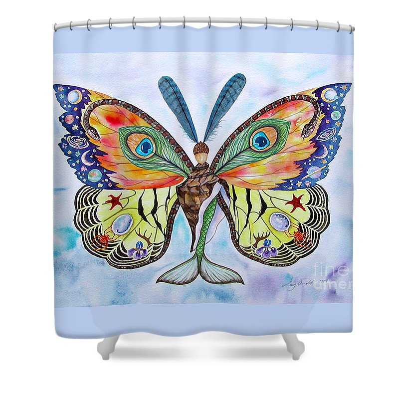 Butterfly Shower Curtain featuring the painting Winged Metamorphosis by Lucy Arnold