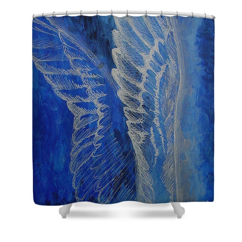 Acrylic Shower Curtain featuring the painting Wings Of Angel by Jindra Noewi