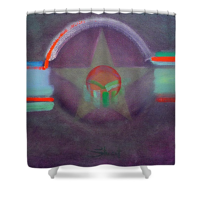 Star Shower Curtain featuring the painting Wings Vermillion  by Charles Stuart