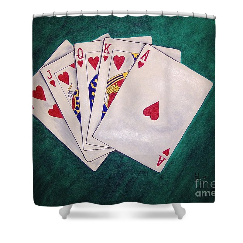 Playing Cards Wining Hand Role Flush Shower Curtain featuring the painting Wining Hand 2 by Herschel Fall
