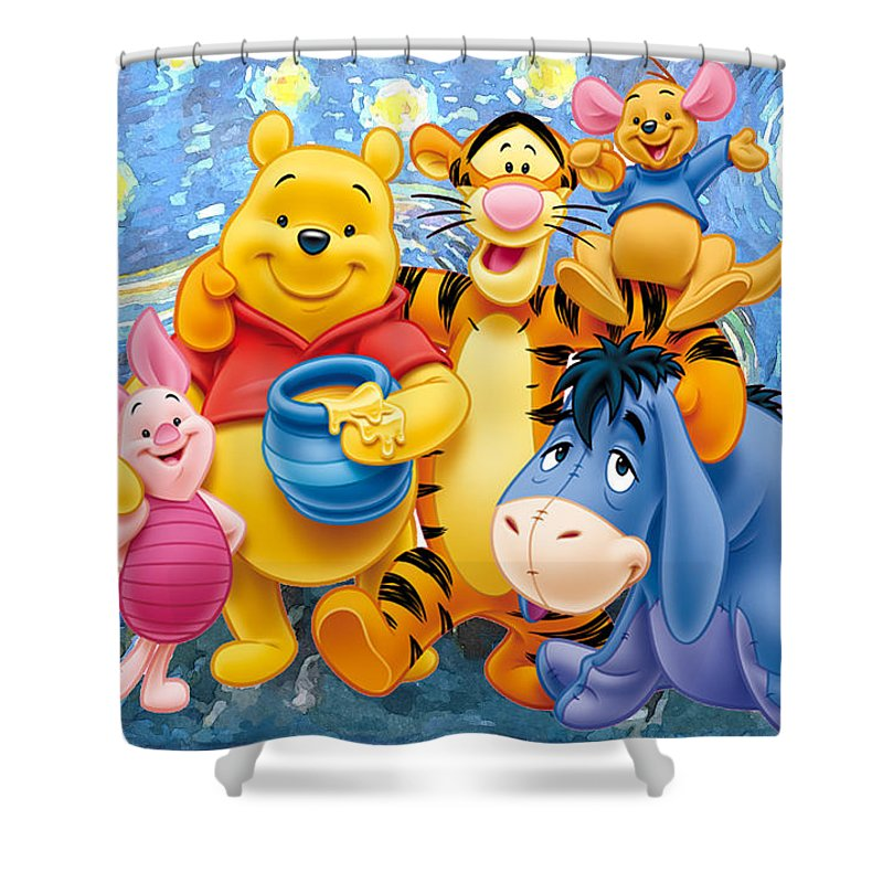 Winnie The Pooh Starry Night Shower Curtain featuring the digital art Winnie the Pooh Starry Night by Midex Planet