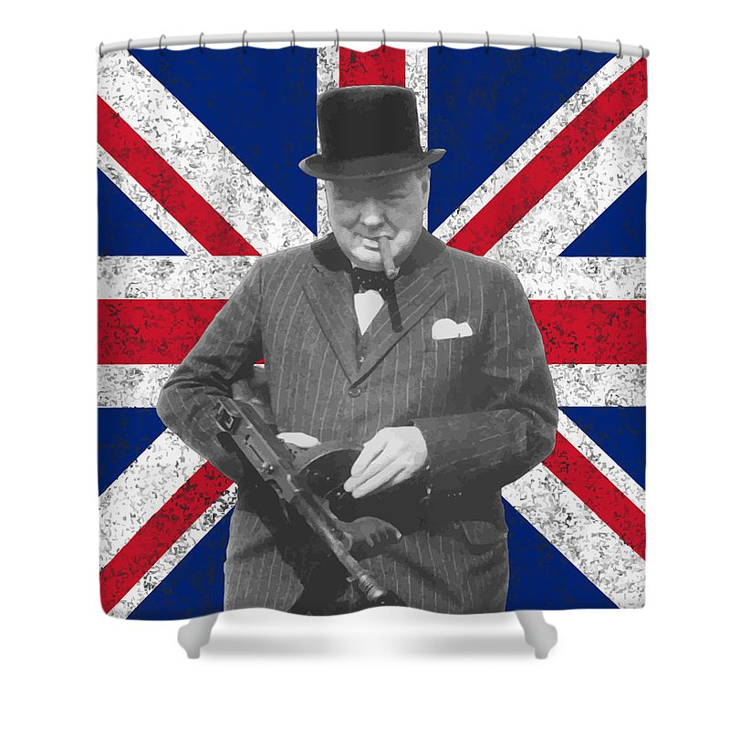 Winston Churchill Shower Curtain featuring the painting Winston Churchill And His Flag by War Is Hell Store