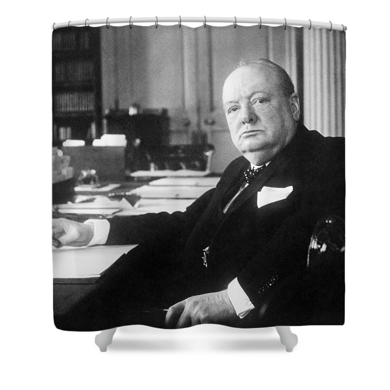 Sir Winston Churchill Shower Curtain featuring the photograph Winston Churchill At Number 10 Downing Street by War Is Hell Store