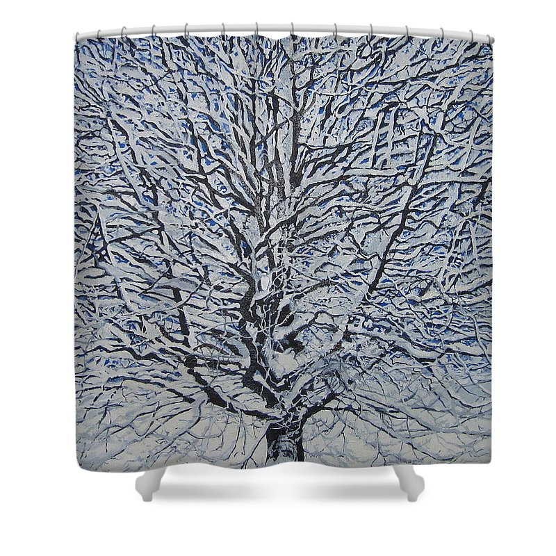 Winter Shower Curtain featuring the painting Winter '05 by Leah Tomaino