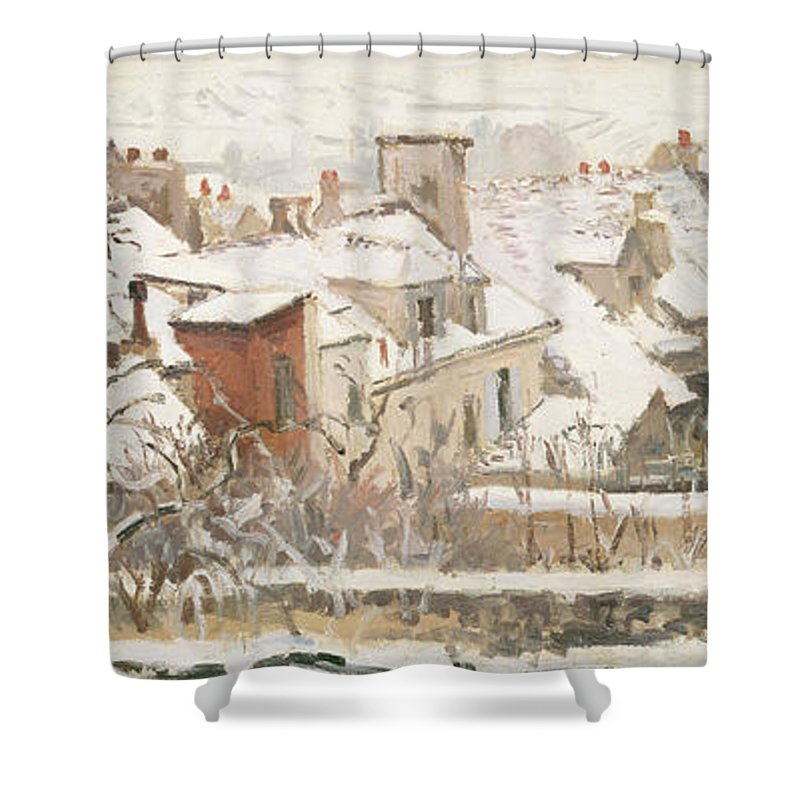 Rooftops Shower Curtain featuring the painting Winter, 1872 by Camille Pissarro