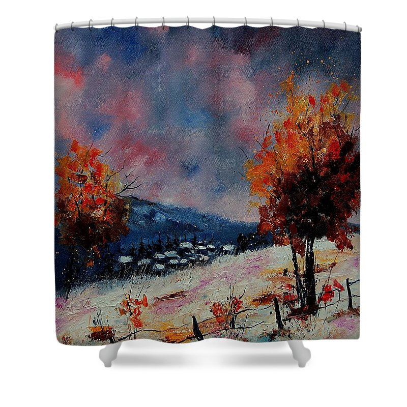 Winter Shower Curtain featuring the painting Winter 560110 by Pol Ledent